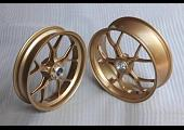 Forged Aluminium Racing wheel set, 5 spoke, PVM, Front 3.50 x 17, Rear 5.0 x 17, Gold.