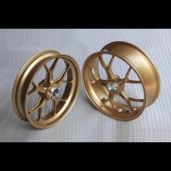 Forged Aluminium Racing wheel set, 5 spoke, PVM, Front 3.50 x 17, Rear 5.50 x 17, Gold. 1