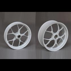 Forged Aluminium Racing wheel set, 5 spoke, PVM, Front 3.50 x 17, Rear 5.50 x 17, White 1